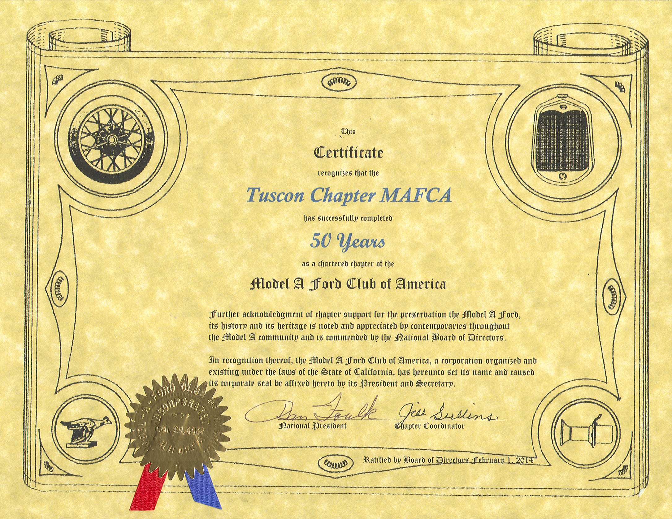 Tucson Chapter Model A Ford Club of America - 50 Year Charter